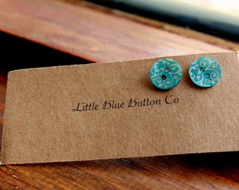 Scrollwork Blue Button Earrings