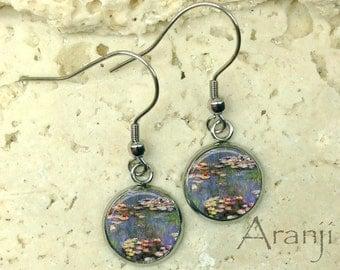 Monet Waterlilies earrings, Waterlilies earrings, Monet earrings, fine art earrings, Claude Monet Waterlilies, Monet drop earrings, AR131DP