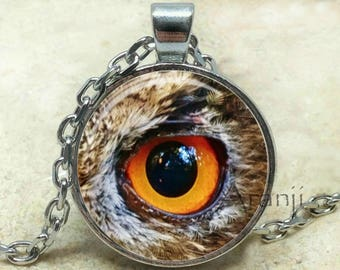 Owl eye necklace, eye necklace, owl eye pendant, owl necklace, owl pendant, eye pendant, Pendant #AN179P