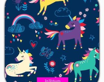 SALE Cotton Jersey fabric, Rainbow Unicorn, blue, 50 cm