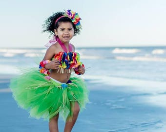 Luau Outfit, Hula Girl, Luau Dress, Grass Skirt, Hula Dress, Luau First Birthday, Hula Costume, Tutu Skirt, Tutu Costume, Birthday Tutu