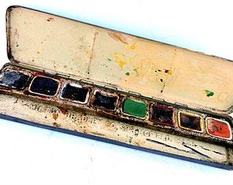 Watercolor Paint Box Vintage Milton Bradley Metal Box Artist Watercolors Photographers Photo Prop