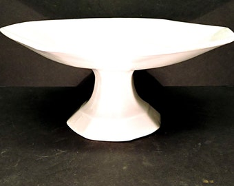 White Ironstone Footed Comport Tazza Farmhouse Kitchen Antique Fruit Holder