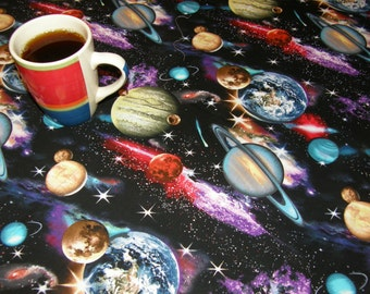 Astronomy Table Cloth Cosmos Space Earth Saturn Venus Mars Jupiter Galaxies Moon Stars  - Gorgeous cotton