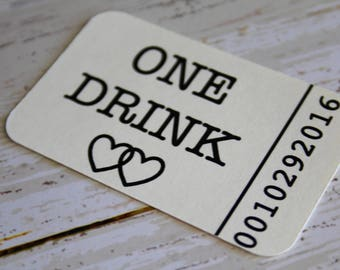 Drink Tickets, One Drink, Wedding Tags, Wedding Favor Tags