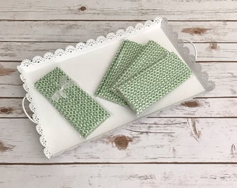 Green Damask Paper Straws / Cake Pop Sticks - 25 Pieces