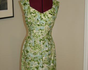 Stunning 1950s 50s floral blue rose Alix of Miami Green and Blue Wiggle Sun Dress S M