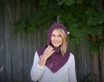 Hand Crocheted Hooded Cowl With Buttons