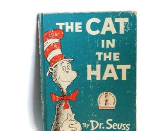 The Cat in The Hat, Dr Seuss, 1957 Cat in The Hat book, vintage Dr. Seuss Book, Children's book, classic Cat in the Hat book