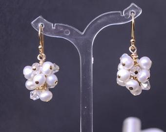 Natural Pearl Cluster Bridal Earrings, Wedding Jewelry,  Bridal Stud Earrings, Freshwater Pearls, Bridesmaid Gift White Ivory, post