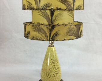 Vintage 1950's Lamp 3-Tier Fiberglass Shade Retro