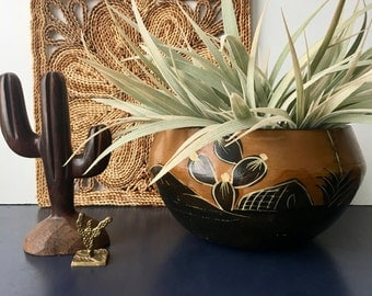 vintage terra cotta southwestern planter pot aged worn boho decor