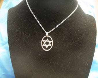 Star of David In Oval, Necklace, Real Silver Plate on Lead Free Pewter