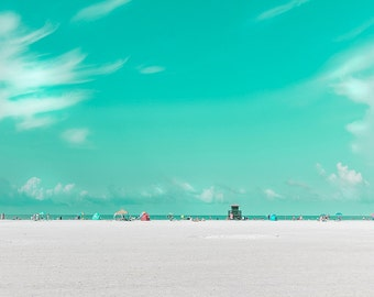 Siesta Key, Florida Beach Photography, Florida, Turquoise, Beach House Decor, Pastel Beach, Florida Beaches, Beach decor, Large Wall Art