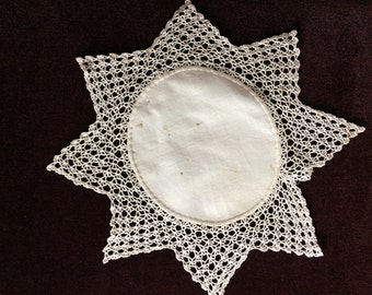 Vintage Small White Linen Doily with Lace Trim