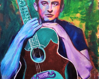 "Johnny Cash 12""x18"" Texas Austin Giclee Poster Musician Guitar Celebrity Print Wall Art Colorful Abstract Pop Art"