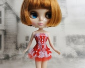 Gothic burlesque red and white corset hand made fits Blythe doll