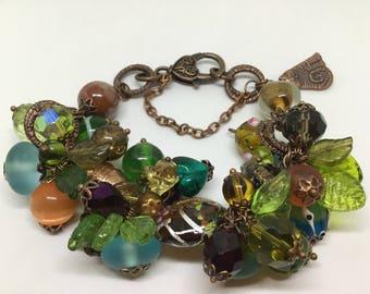 Bohemian/vintage influenced copper charm bracelet.
