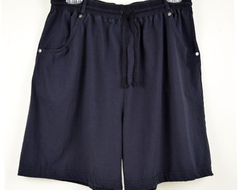 Vintage Dark Navy Blue Cotton Knit  Shorts with Pockets by Basic Editions Size Med