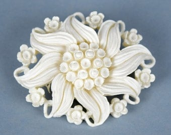 "Vintage Celluloid White Flower Brooch, Pin White Floral Celluloid Pin, 2"" Wide"