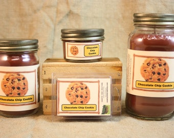 Chocolate Chip Cookie Scented Candle, Chocolate Chip Cookie Scented Wax Tarts, 26 oz, 12 oz, 4 oz Jar Candles or 3.5 Clam Shell Wax Melts