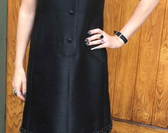 Vintage 1960's Black Party Dress with Beaded Detail