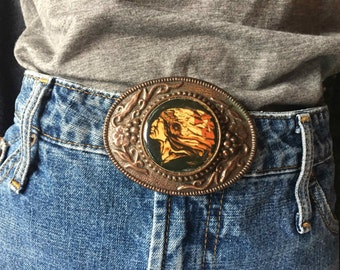 Western Style Native American Indian Belt Buckle on Copper Tone Metal