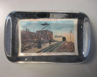 "4.5"" x 2.5"" Glass Block Paperweight, SCENIC COLORADO - Summit Pikes Peak, ca. 1901"
