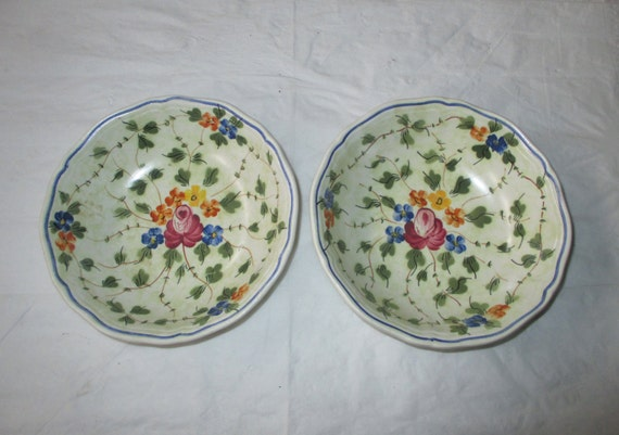 "2 Longchamp NEMOURS Hand Painted French Country 6.25"" Cereal Bowls (c. 1973)"