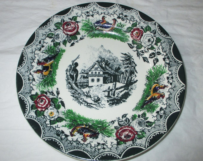 """PV France 8-1/8"""" Hand-Decorated Dark Green Plate, Mountain Cottage (Chalet), Birds, Flowers, ca. 1920s"""