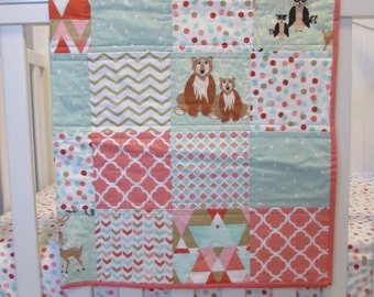 Baby Crib Play Quilt in Mint, Coral, Gold, Woodland Animals