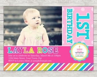 Girl 1st Birthday Invitation, Rainbow Birthday Party Invite - Printable File or Printed Invitations