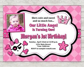 Little Angel Birthday Invitation - Printable File or Printed Invitations