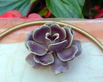 1960's Vendome Lavender Rose Brooch - Gold Plated, Signed - Vintage - Stunning!
