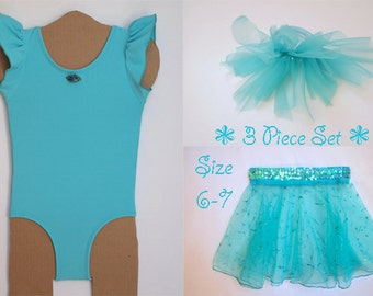 Aqua Dance Set Includes Flutter Sleeve Leotard with Ribbon Rose Trim, Sheer Glittered Skirt with Stretch Sequin Waist and Ponytail Pouf