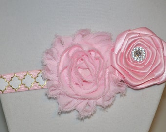 Pink and Gold Shabby Chic Elastic Headband