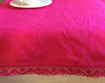 Magenta tablecloth, small rectangle linen table cloth with lace edge trim, bright hot pink tablecloth