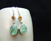 Green Moonstone & Amber Sterling Silver Earrings