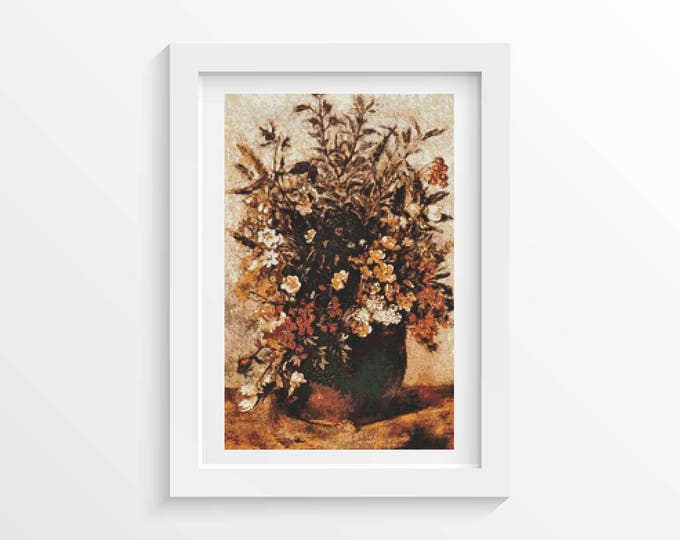 Autumn Berries and Flowers in Brown Pot Cross Stitch Pattern PDF by John Constable (CONST01)