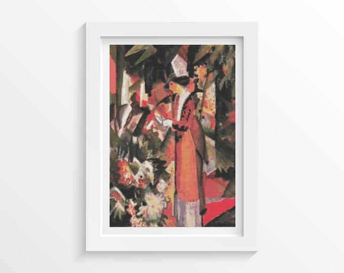 Cross Stitch Pattern PDF, Embroidery Chart, Art Cross Stitch, Walk in Flowers by August Macke (MACKE07)