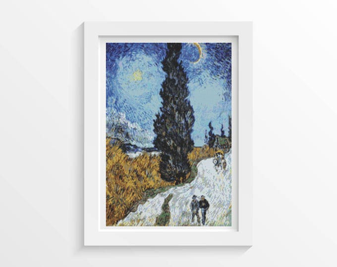 Cross Stitch Pattern PDF, Embroidery Chart, Scenery Cross Stitch, Country Road in Provence Night by Vincent van Gogh (VGOGH16)