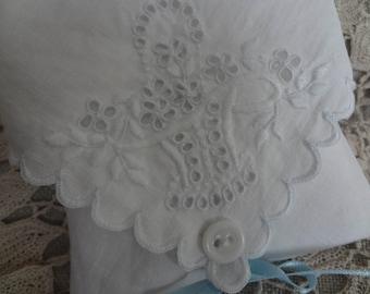 Something Old New Borrowed Blue Vintage Handkerchief Hankie Natural Lavender Filled Sachet - Refillable