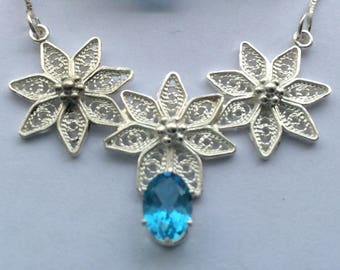 Swiss Blue Topaz Sterling Silver Necklace