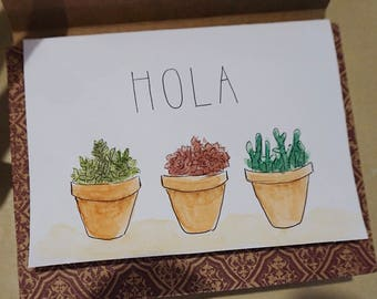 Watercolor Succulent Stationery Set