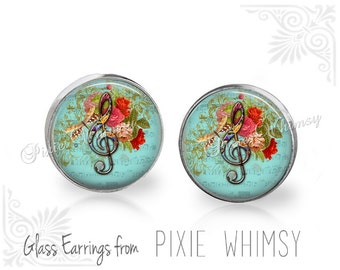 MUSIC Earrings, Music Stud Earrings, Music Post Earrings, Stud Pierced Earrings, Treble Clef, G Clef Jewelry, Gift for Music Lover Teacher