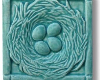 "Bluebird Nest with Eggs 4x4"" Art Tile free shipping!"