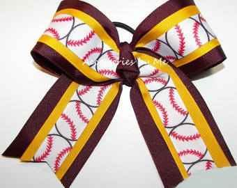 Softball Hair Bow, Maroon Yellow Gold Ribbon Bow, Maroon Ponytail Holders, Burgundy Gold 6 Inch Spirit Bows, Soft Balls Yellow Bulk Lot Bows