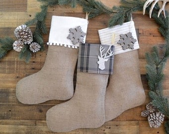 Personalized Family Christmas Stockings - Gray - Set of 3 - Stockings, Neutral Stockings, Christmas Stocking Set