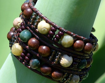 Three Strand, Wood, Soapstone Amber, and Fancy Jasper, Leather Wrapped Bracelet, by Helen Jewelry, Multiple Strand, Metaphysical, Jewelry