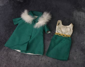 1960's Tammy Doll On The Town Outfit with Green Dress and Matching Coat with Fur Collar VHTF